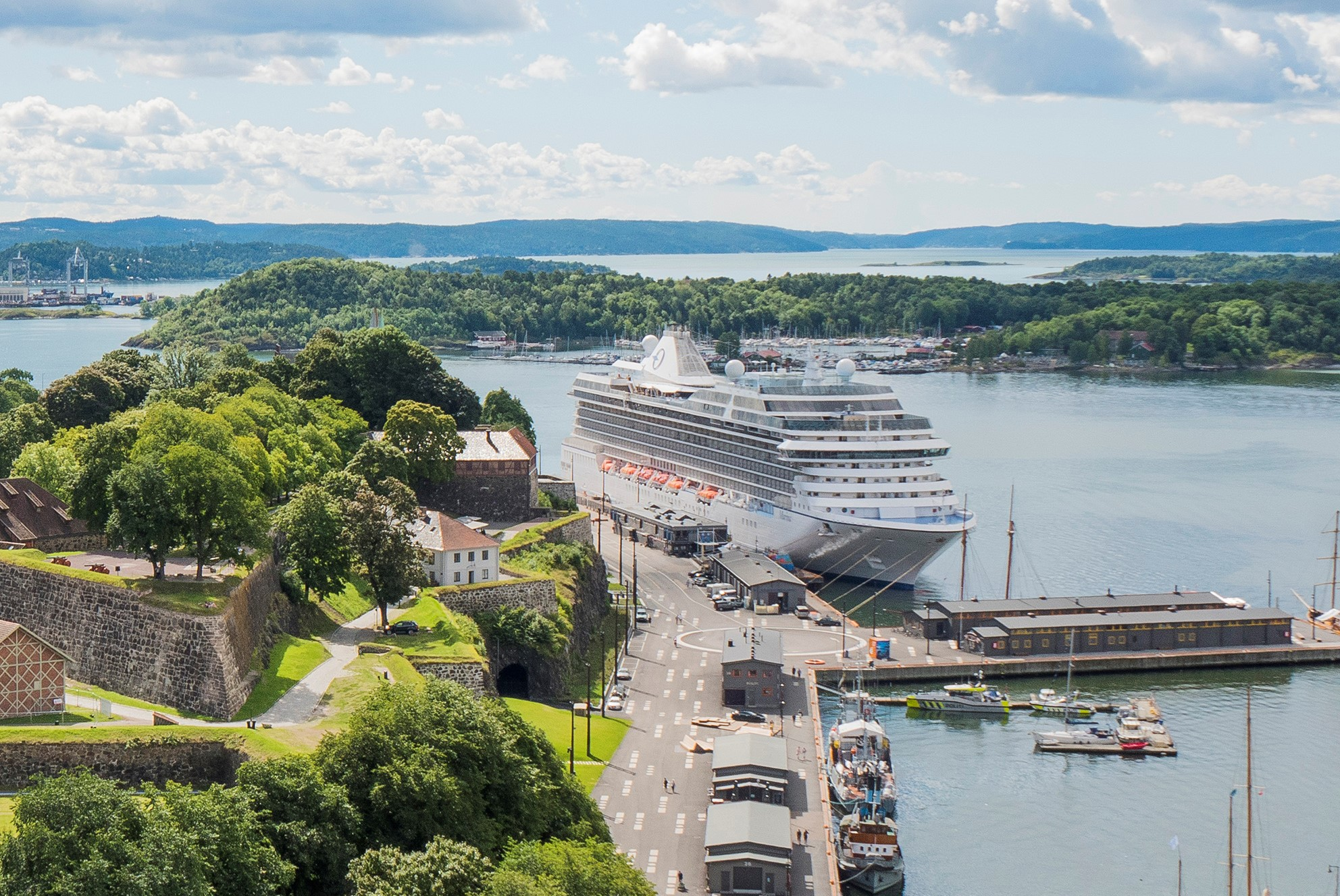 Cruise ship docked by Akershus Fortress