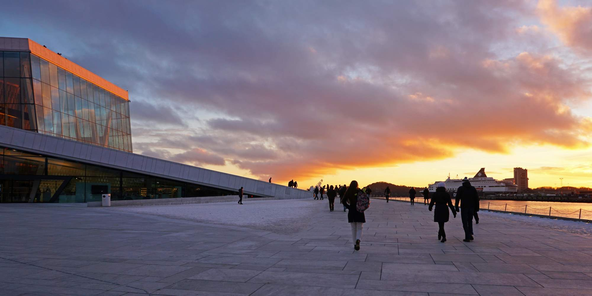 Winter sunset at the Oslo Opera House
