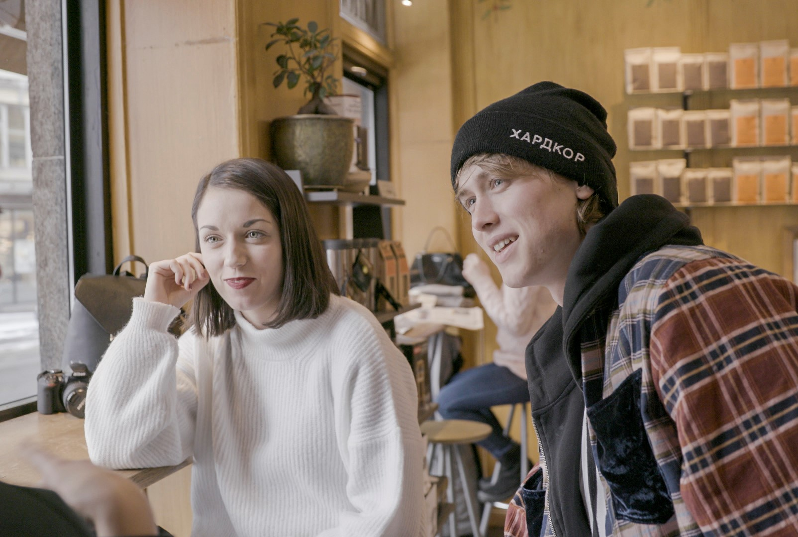 Henrik Holm and Zélia at Kaffebrenneriet