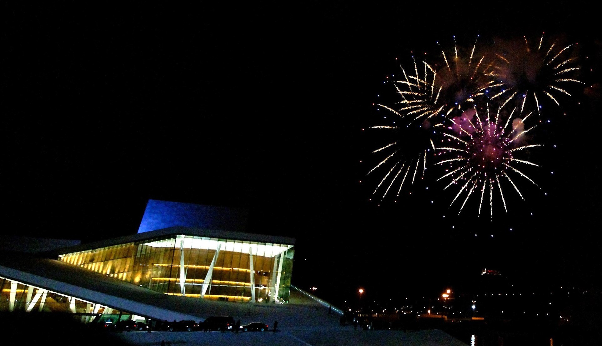 New Year's Eve - fireworks at the Opera House in Oslo