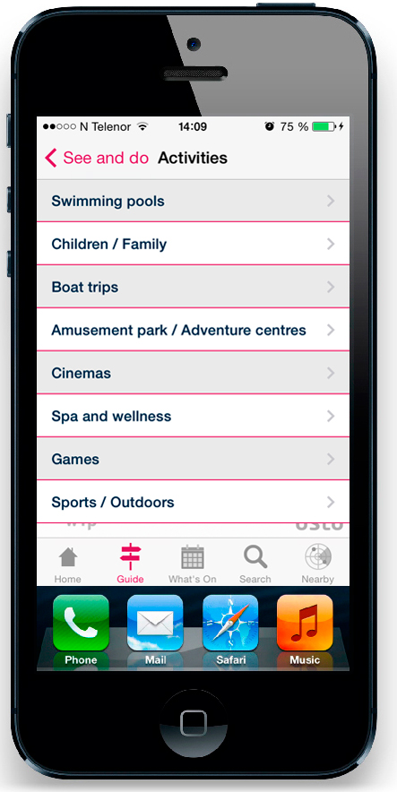 Oslo - Official City App, activities list