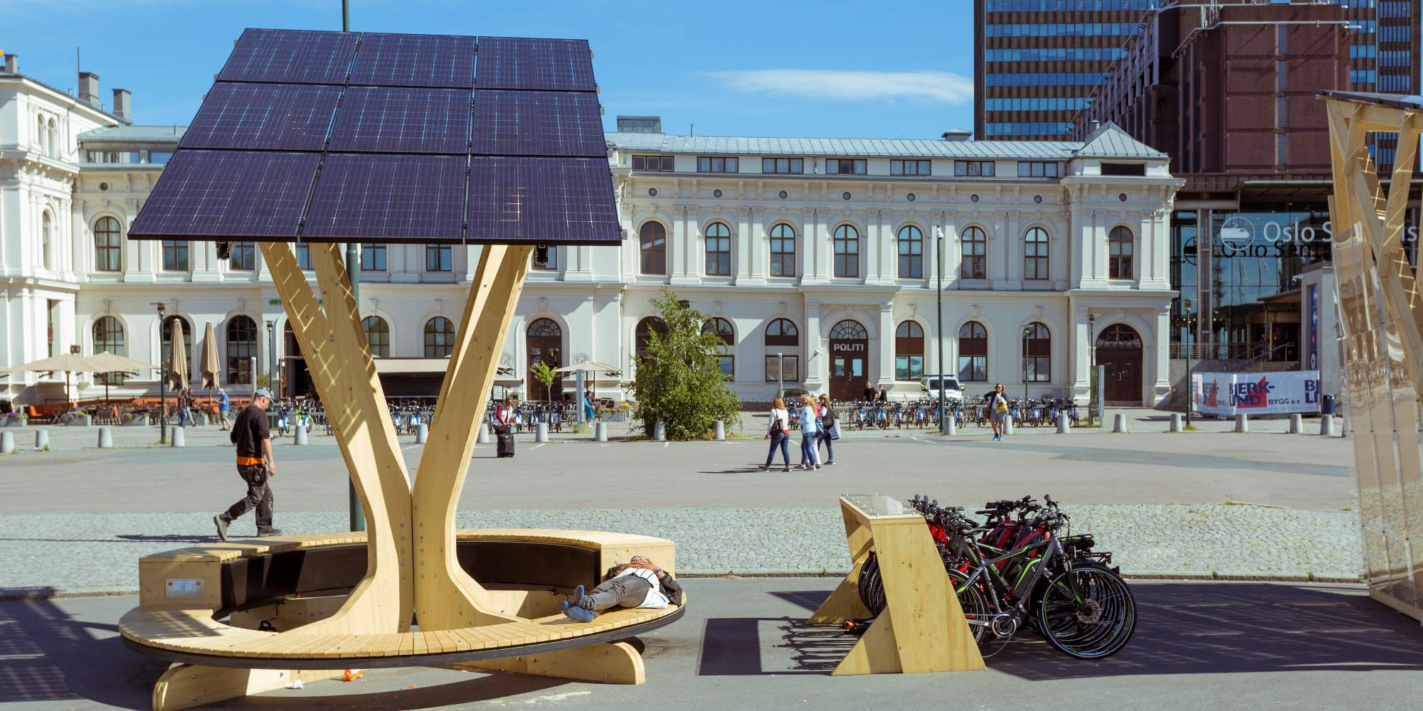 Solar panels outside Oslo Central Station
