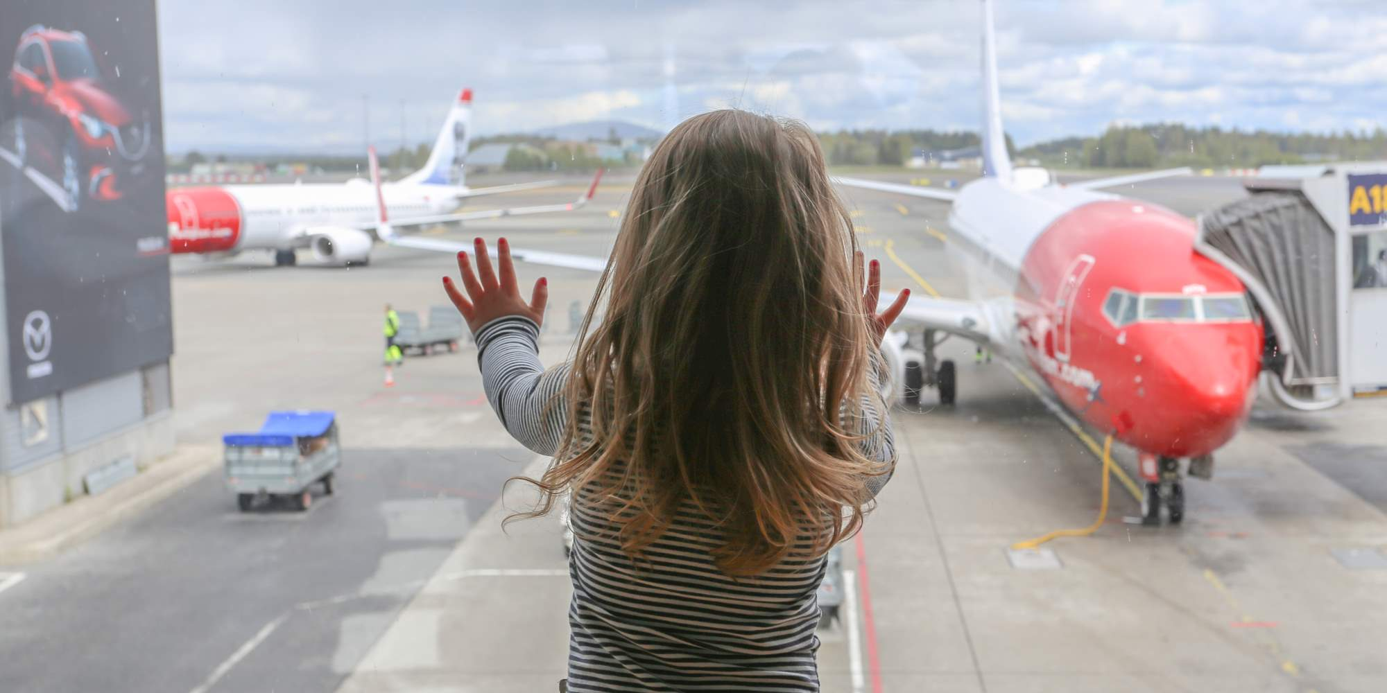 Young traveller at the Oslo Airport